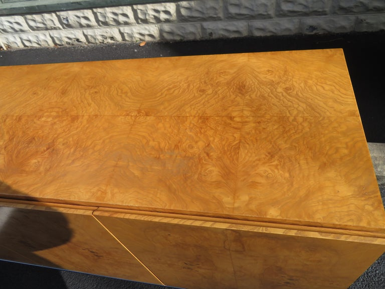 Magnificent Milo Baughman Burled Olive Wood Chrome Credenza Mid-Century Modern For Sale 7