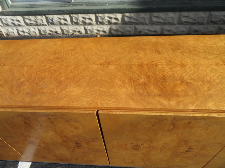 Magnificent Milo Baughman Burled Olive Wood Chrome Credenza Mid-Century Modern For Sale 8