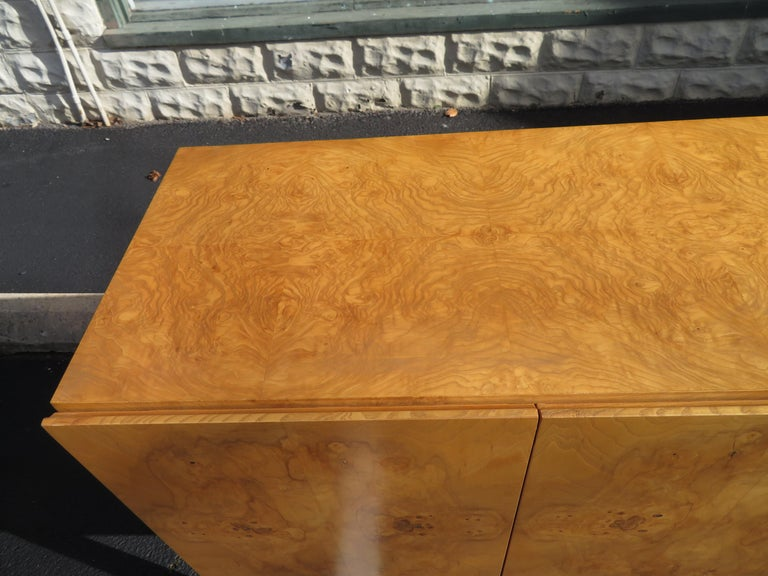 Magnificent Milo Baughman Burled Olive Wood Chrome Credenza Mid-Century Modern For Sale 9