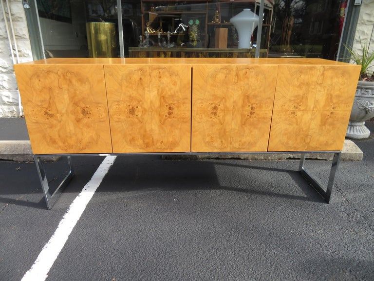 Magnificent Milo Baughman Burled Olive Wood Chrome Credenza Mid-Century Modern For Sale 10