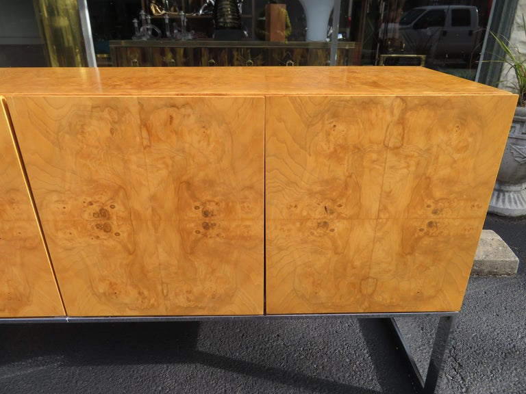 American Magnificent Milo Baughman Burled Olive Wood Chrome Credenza Mid-Century Modern For Sale