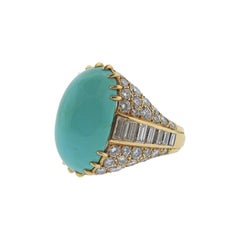 Magnificent Monture Cartier Turquoise Diamond Gold Ring