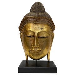 Magnificent Monumentally Large Carved Gilded Thai Buddha Head