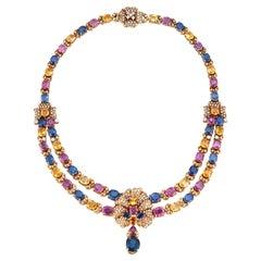 Magnificent Multi Color Sapphire & Gold Necklace