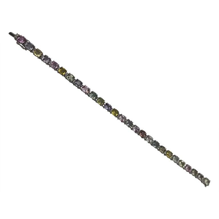 Magnificent Multi-Color Sapphire Tennis Bracelet 18 Karat For Sale
