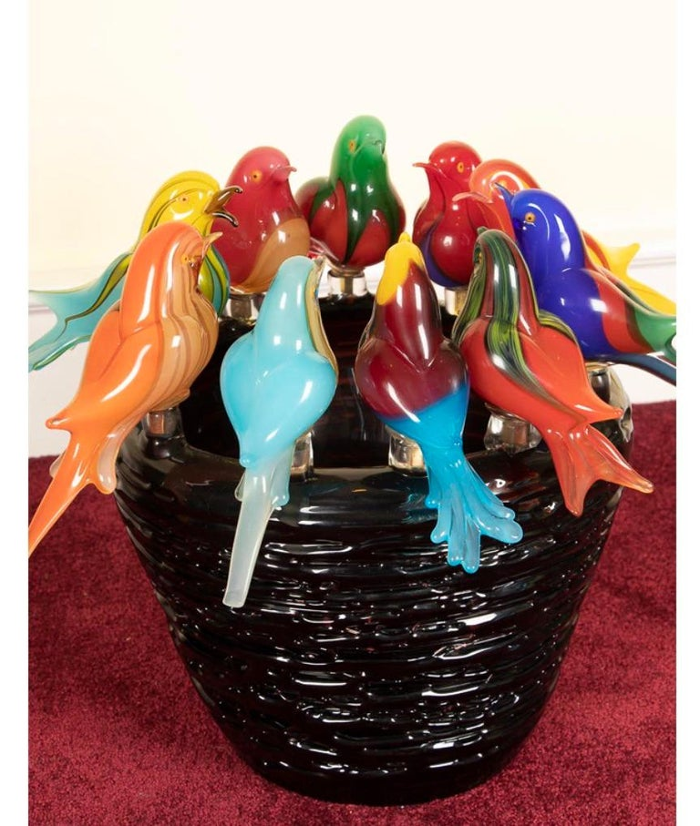 If you love imaginative hand-blown glass, this is the piece to own and admire!! Extraordinary large hand blown art glass Murano bird sculpture. Ten gorgeous hand blown birds, each masterfully uniquely multicolored, imagined one at a time. All