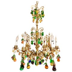 Magnificent Murano Glass Crystal Fruits and Gilt Metal 6 Light Chandelier