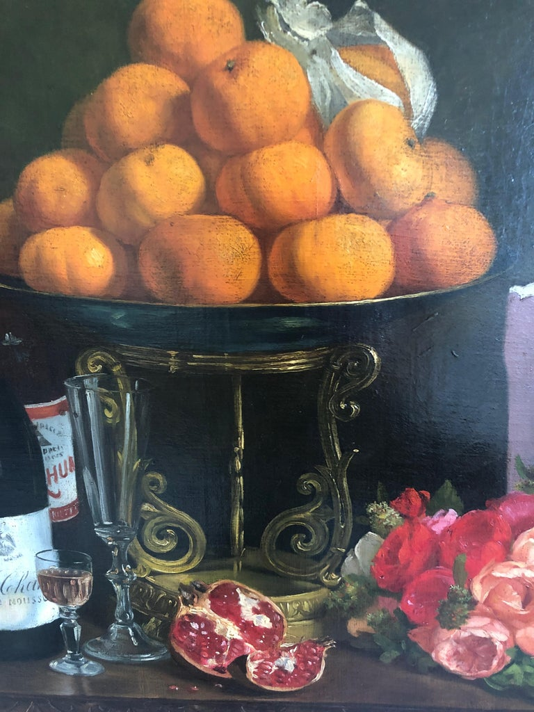 Magnificent Museum Quality Very Large Realistic Still Life by Francois Abel In Excellent Condition For Sale In Hopewell, NJ