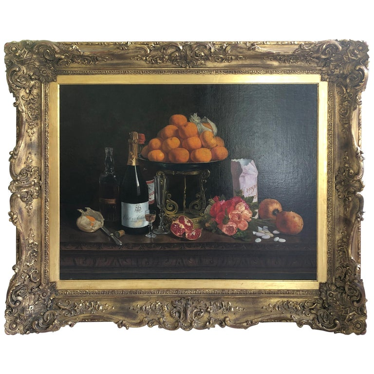Magnificent Museum Quality Very Large Realistic Still Life by Francois Abel For Sale