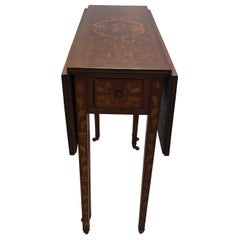 Magnificent Neoclassical Dutch Marquetry Drop-Leaf Pembroke Table