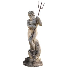 Magnificent North Italian 19th Century Stone Sculpture Figure of God Neptune