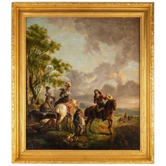 "Magnificent Oil on Canvas ""Halt of Hunters"""