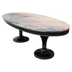 Magnificent Oval Top Dining Table with Pink Marble Attr. Maison Jansen