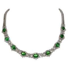 Magnificent Oval Tsavorite Garnet and Diamond Necklace 18 Karat White Gold