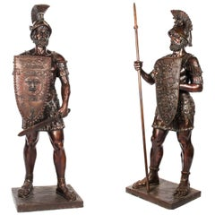 Magnificent Pair of Huge Bronze Roman Soldier Centurion Statues, 20th Century