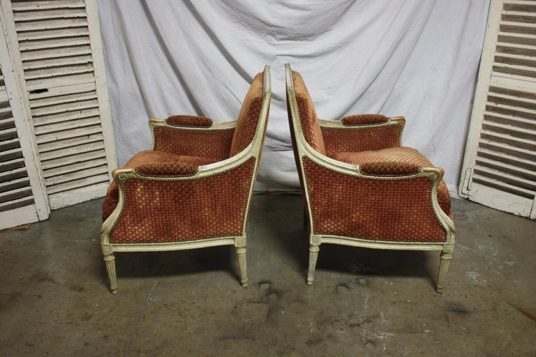 Louis XVI Magnificent Pair of 18th Century French Bergere Chairs For Sale