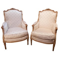 Magnificent Pair of 19th Century French Louis XVI Gilt Large Bergeres