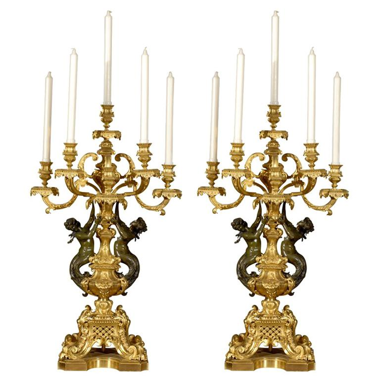 Magnificent pair of candelabra For Sale