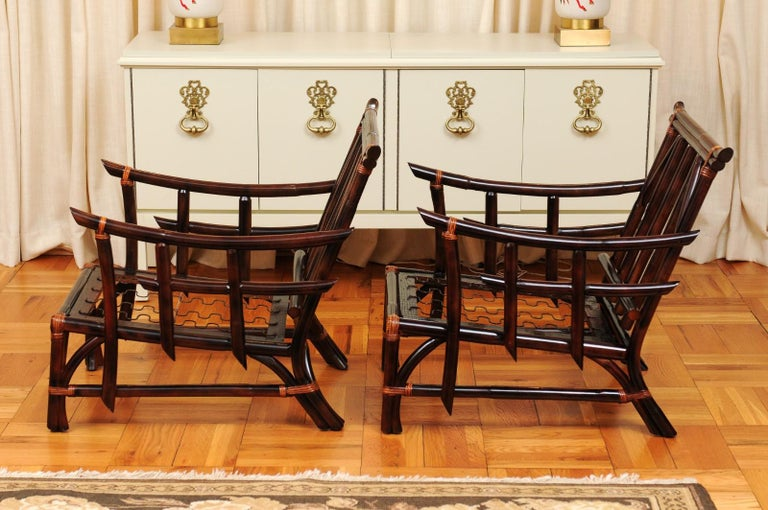 Magnificent Pair of Cordovan and Caramel Pagoda Lounge Chairs, circa 1960 For Sale 6