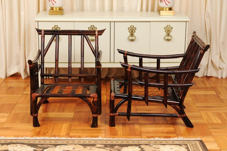Magnificent Pair of Cordovan and Caramel Pagoda Lounge Chairs, circa 1960 For Sale 7
