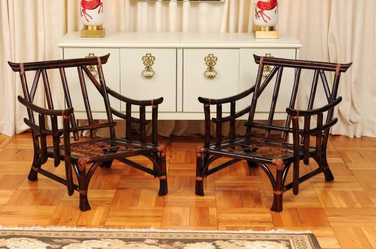 Magnificent Pair of Cordovan and Caramel Pagoda Lounge Chairs, circa 1960 For Sale 9