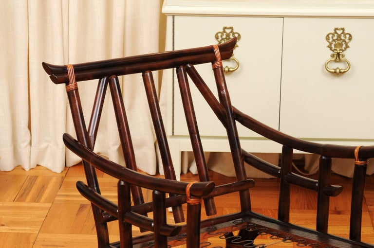 Magnificent Pair of Cordovan and Caramel Pagoda Lounge Chairs, circa 1960 For Sale 13