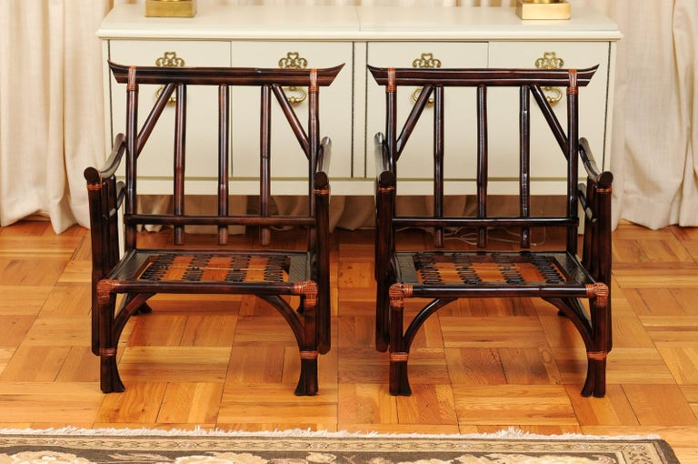 Philippine Magnificent Pair of Cordovan and Caramel Pagoda Lounge Chairs, circa 1960 For Sale