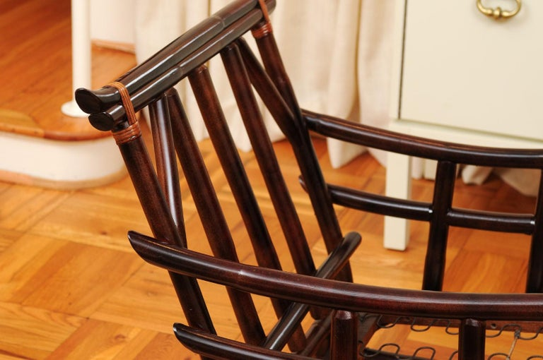 Cane Magnificent Pair of Cordovan and Caramel Pagoda Lounge Chairs, circa 1960 For Sale
