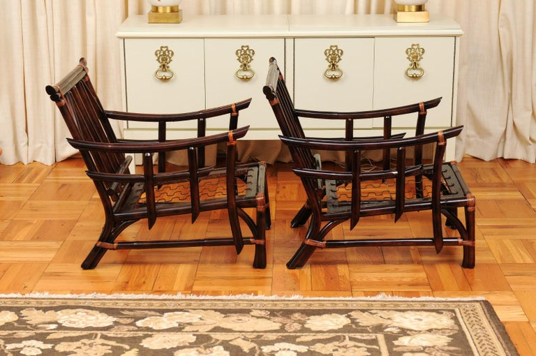 Magnificent Pair of Cordovan and Caramel Pagoda Lounge Chairs, circa 1960 For Sale 1