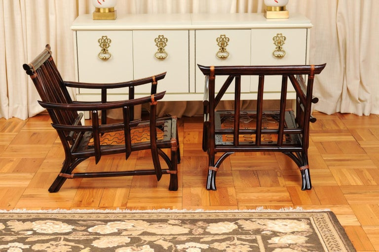 Magnificent Pair of Cordovan and Caramel Pagoda Lounge Chairs, circa 1960 For Sale 2