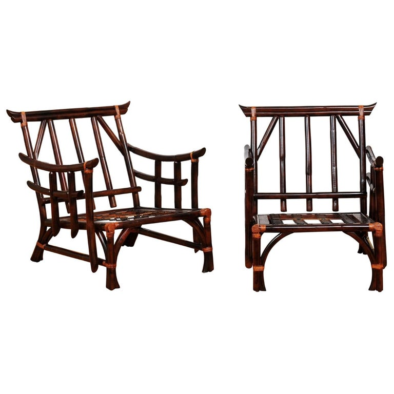 Magnificent Pair of Cordovan and Caramel Pagoda Lounge Chairs, circa 1960 For Sale