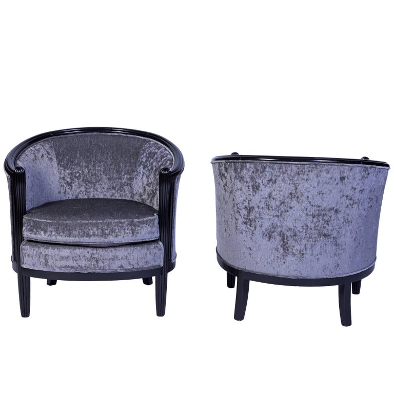 Magnificent Pair of Ebonized Mahogany Club Chairs in Luxe Gray Velvet