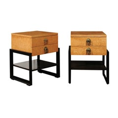 Magnificent Pair of End Tables by Renzo Rutili in Bird's-Eye Maple, circa 1955