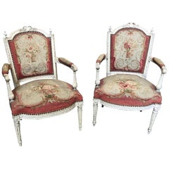 Magnificent Pair of French Aubusson Tapestry & Carved Wood Fauteuil Arm Chairs