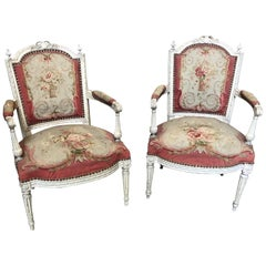 Magnificent Pair of French Aubusson Tapestry and Carved Wood Fauteuil Armchairs