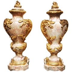 Magnificent Pair of French Marble and Bronze Louis XV Style Cassolettes