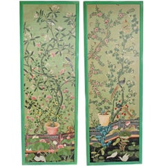Magnificent Pair of Hand-Painted Chinese Wallpaper Panels