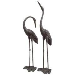 Magnificent Pair of Italian Bronze Cranes, circa 1970s