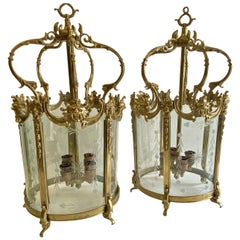 Magnificent Pair of Italian Cast Brass Lanterns