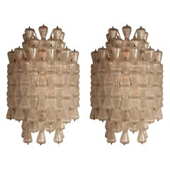 "Magnificent Pair of Large Barovier & Toso ""Clessidra"" Glass Sconces, circa 1970"