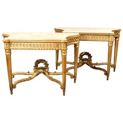 Magnificent Pair of Late 19th Century Hand Carved Giltwood Consoles