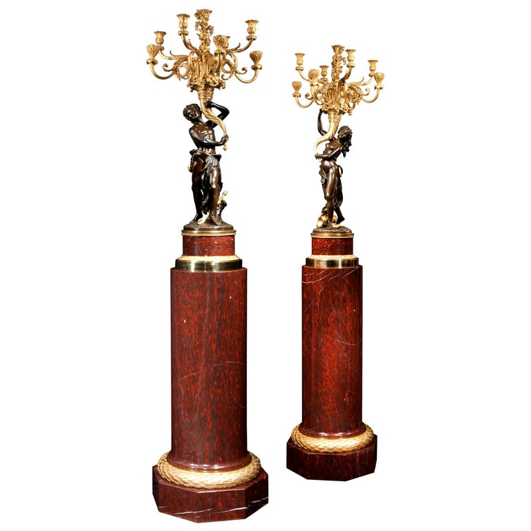 Magnificent Pair of Louis XVI Candelabra after Clodion For Sale