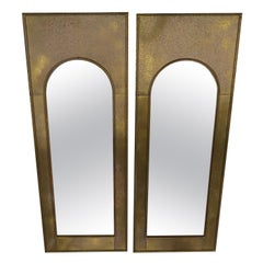 Magnificent Pair of Mastercraft Brass Arched Palladian Mirrors Hollywood Regency