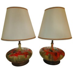 Magnificent Pair of Orange Oversized Squatty Danish Lava Drip Glaze Lamps Modern