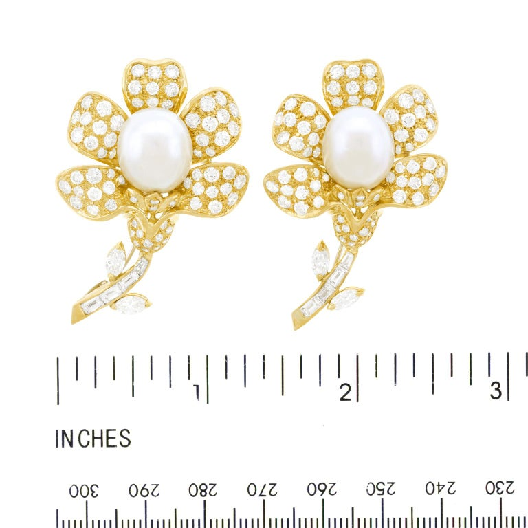Magnificent Pair of Pearl and Diamond set Gold Flower Brooches For Sale 2