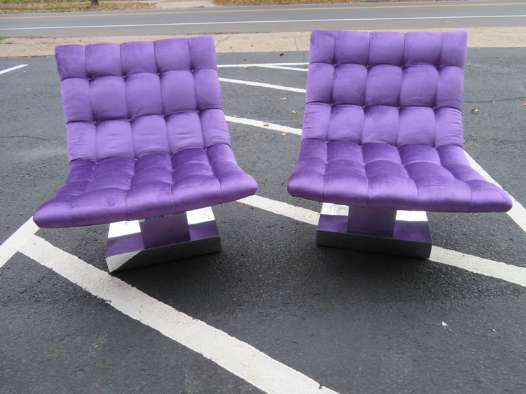 Magnificent Pair of Restored Milo Baughman Chrome Cube Slipper Lounge Chairs For Sale 5
