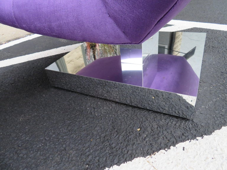 Upholstery Magnificent Pair of Restored Milo Baughman Chrome Cube Slipper Lounge Chairs For Sale