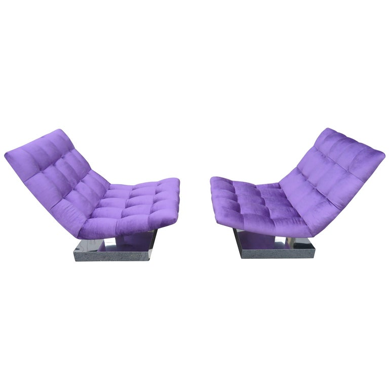 Magnificent Pair of Restored Milo Baughman Chrome Cube Slipper Lounge Chairs For Sale