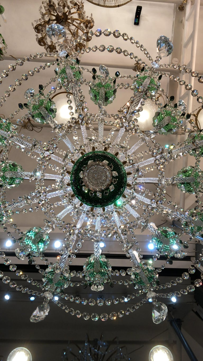 Magnificent Pair of Russian Green Crystal and Gold Chandeliers For Sale 4