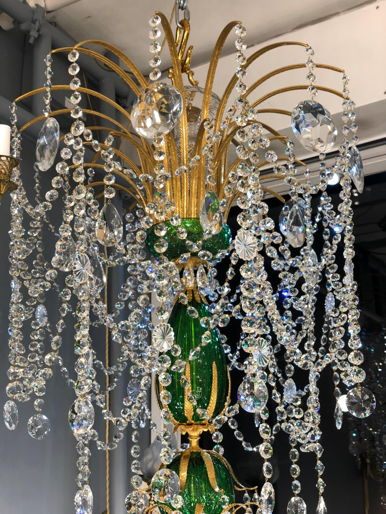 Magnificent Pair of Russian Green Crystal and Gold Chandeliers For Sale 5